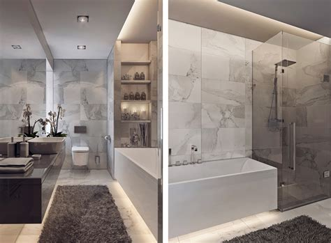 Contemporary Bathroom Designs Exposed Gray and White Color