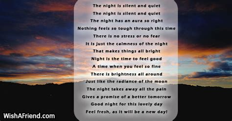 The night is silent and quiet , Good Night Poem