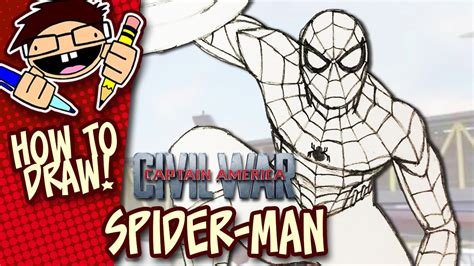 How to Draw SPIDER-MAN (CAPTAIN AMERICA: CIVIL WAR) Step