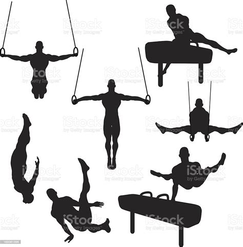 Male Gymnastics Silhouette Collection Stock Illustration